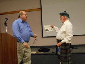 Bill Ewalt thanks member Larry McRae for program